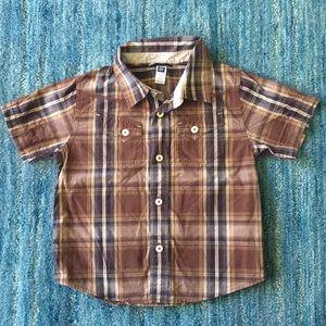 GAP Plaid Button Down Shirt Brown Blue Size 3